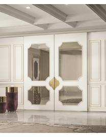 ALLEY Scorrevole White laquered with gold profiles-Bright gold-Stop sol bronze-Brass fusion